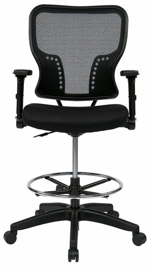 Mesh Drafting Chair With Adjustable Flip Arms [213 37N2F3D]  1