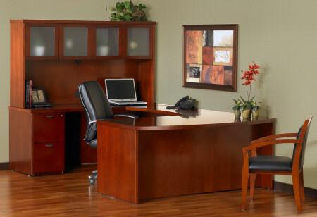 Merveilleux Mira U Executive Office Desk With Hutch [MEU1]  1