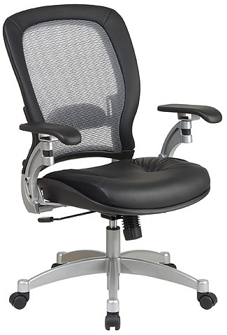 Platinum Finish Air Grid Leather Chair [3680] -1