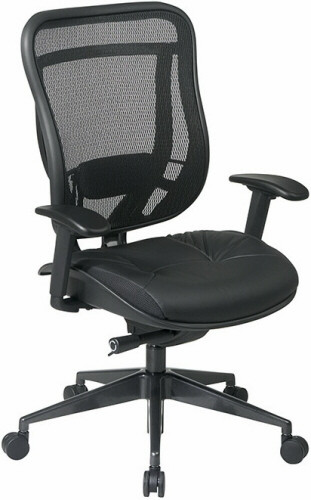 office star high back mesh office chair with leather seat [818