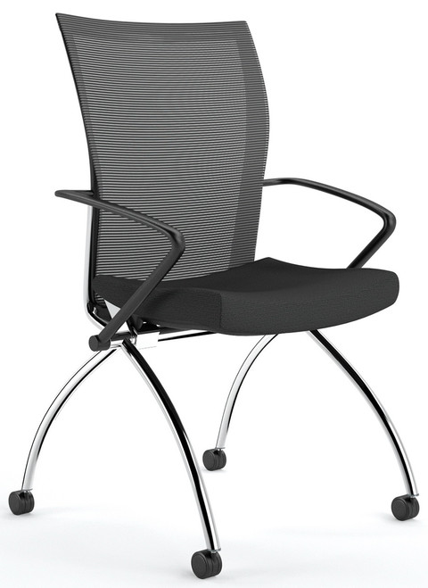 Valore Mesh Back Nesting Chair With Arms [TSH1]  Black