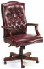 Vinyl Traditional Office Chair with Mahogany Finish [B905] -1