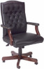 Vinyl Traditional Office Chair with Mahogany Finish [B905] -2