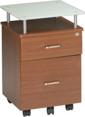 Mayline Vision Glass Top Pedestal Medium Cherry [973MEC]-1