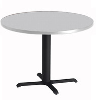 "Mayline Bistro 42"" Round Dining Height Table Black Base, Ice Gray [CA42RLBTFLK]-1"