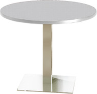 "Mayline Bistro 42"" Round Dining Height Table Stainless Steel, Ice Gray [CA42RLSTFLK]-1"