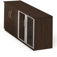 Mayline Medina Low Wall Cabinet, Wood / Glass Doors Mocha [MVLCLDC]-1