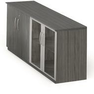 Mayline Medina Low Wall Cabinet, Wood / Glass Doors Gray Steel [MVLCLGS]-1