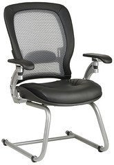 Platinum Finish Air Grid Leather Guest Chair [3685] -1