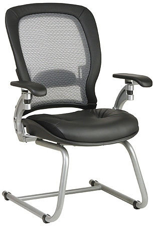 Platinum Finish Air Grid Leather Guest Chair [3685]  1