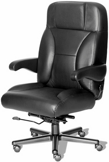 Big And Tall Leather Office Chair With Flip Up Arms [CHIEF L]