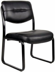 Armless Leather Guest Chair with Sled Base [B9539] -1
