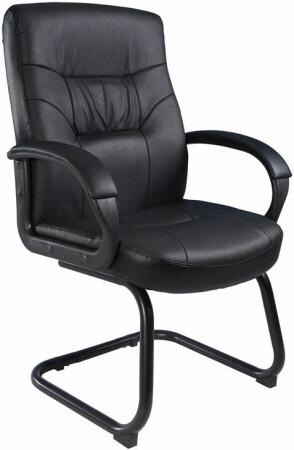 Boss LeatherPlus Sled Base Arm Chair [B7519] -1