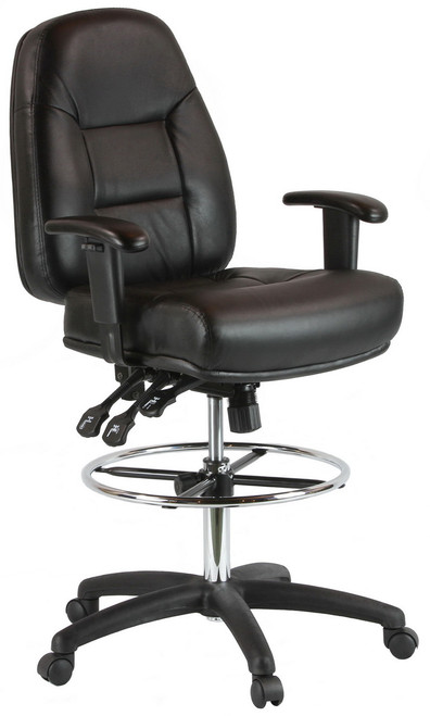 Harwick Adjustable Leather Drafting Chair With Arms  100KL