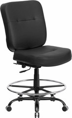 Hercules Heavy Duty Leather Drafting Stool [WL-735SYG-BK-LEA-D-GG] -1