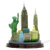 Rear of New York City skyline 3D model and statue. New York souvenir