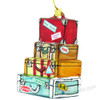 glass travel suitcase Christmas ornaments