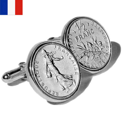 Sterling Silver French Franc Coin Cufflinks