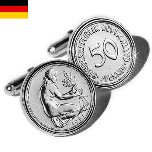 Sterling Silver German Mark Coin Cufflinks