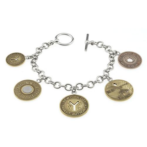 Silver Subway Token Charm Bracelet