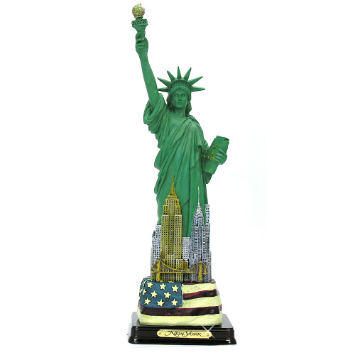 Statue of Liberty Statues with Flag and Wooden Base with Plaque