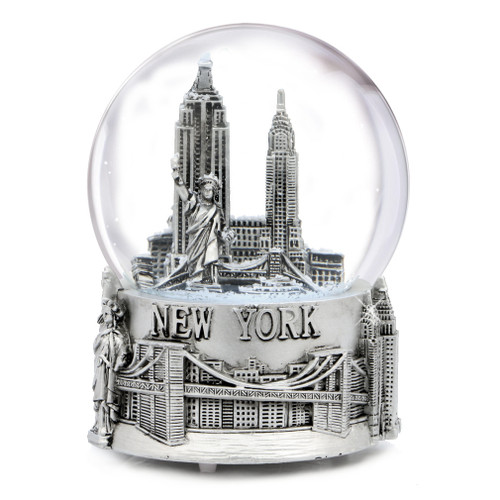 Musical Silver New York City Skyline Snow Globe