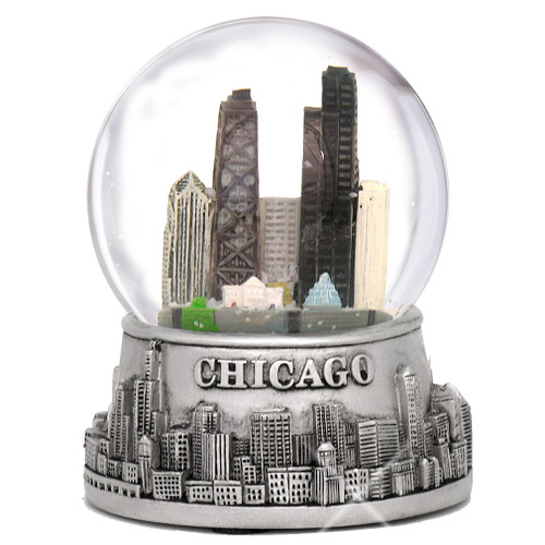 Chicago Snow Globes, Skyline with snow flakes