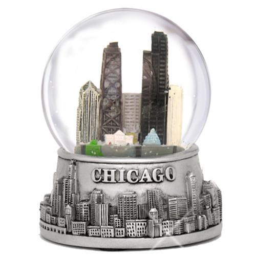 Silver Skyline Musical Chicago Snow Globe