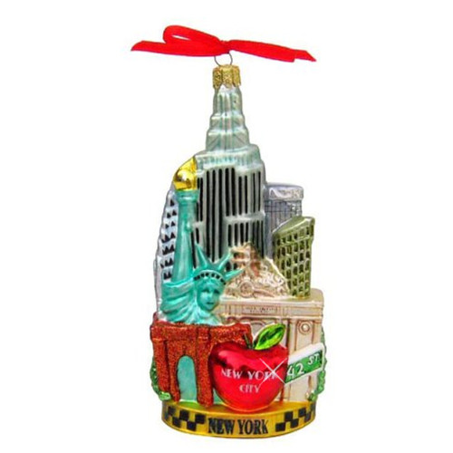 New York City Scape Glass Ornament