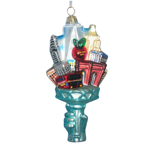 New York City Landmarks Torch Glass Ornament