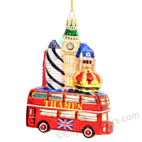 Bus and Landmarks Glass Ornament