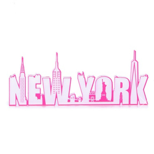 Hot Pink New York Acrylic Magnet