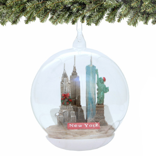 New York City Glass Christmas Ornament, Landmarks Memory Globe