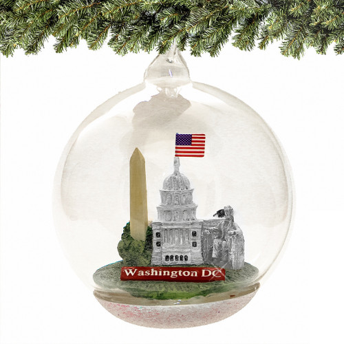 DC Glass Christmas Ornament, Landmarks Memory Globe