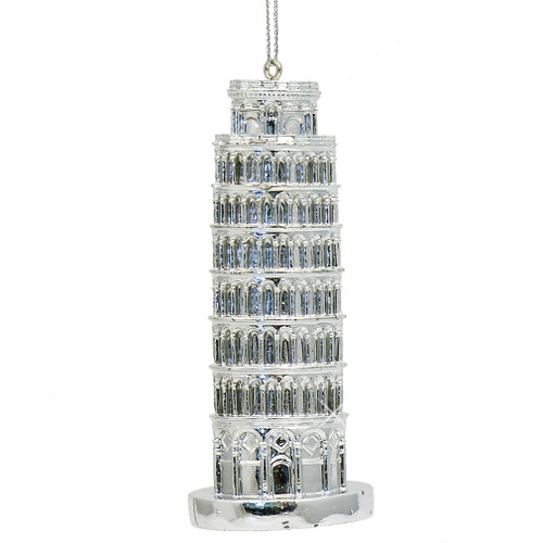 Silver Leaning Tower of Pisa Christmas Ornaments