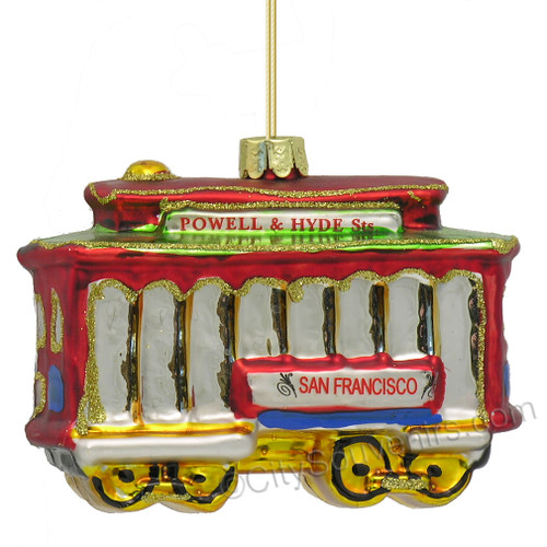 San Francisco Trolley Car Glass Ornament
