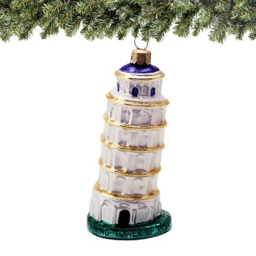 Leaning Tower of Pisa Christmas Ornaments