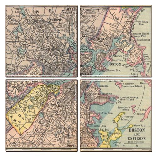 Boston Map Coaster Set of 4