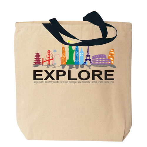 World Landmarks Canvas Tote Bag