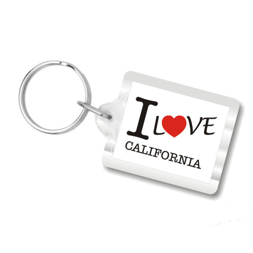 I Love California Plastic Key Chains, I Heart California