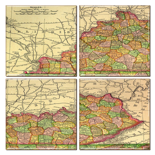 Kentucky Map Coaster Set of 4