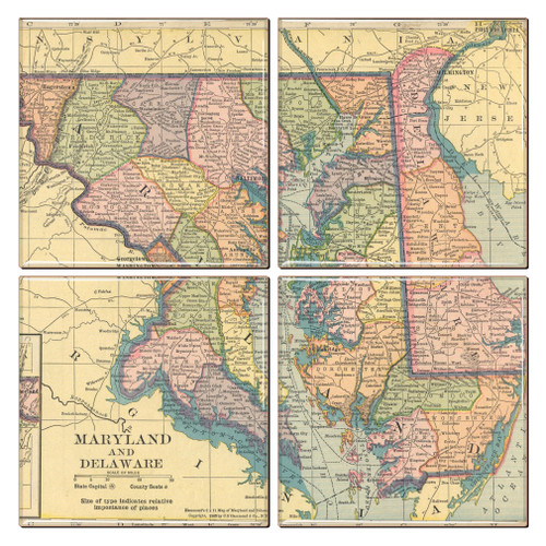 Maryland Map Coaster Set of 4