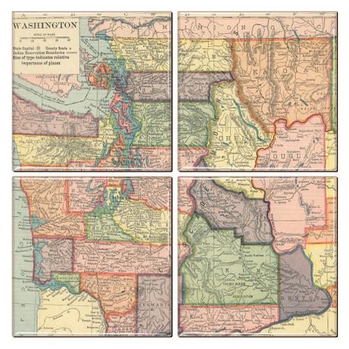 Washington State Map Coaster Set of 4