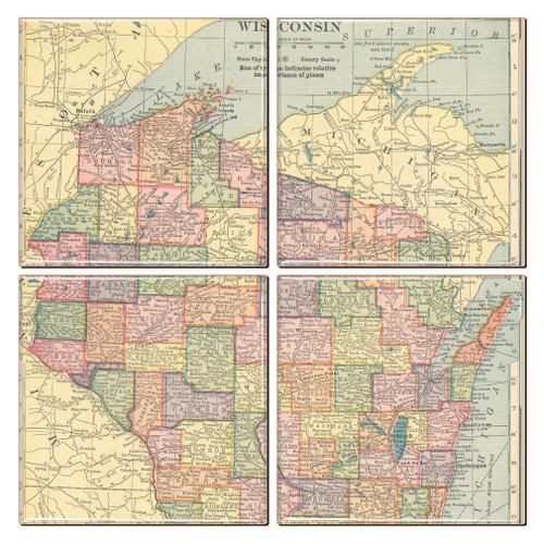 Wisconsin Map Coaster Set of 4