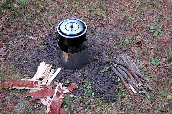 preparing twigs and sticks for littlbug stove