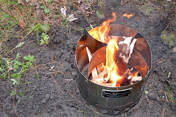 wood fuel ablaze in littlebug stove