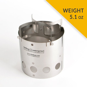 Littlbug Junior wood backpacking stove weight 5.1 ounces.