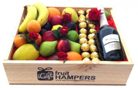 Riccadonna Fruit Hamper + Silk Red Roses + Ferrero Chocolates