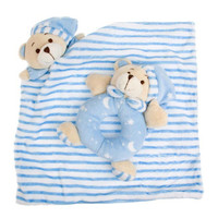 Blue Baby Gift Rug with Rattle