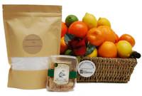 Get Well Raw Honeycomb + Citrus Fruit Gift Basket + 1Kg Epsom Bath Salts
